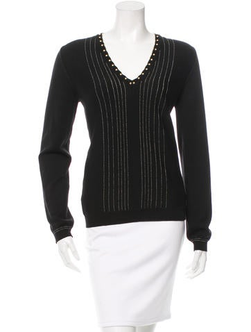 Roberto Cavalli Wool Embellished Top None