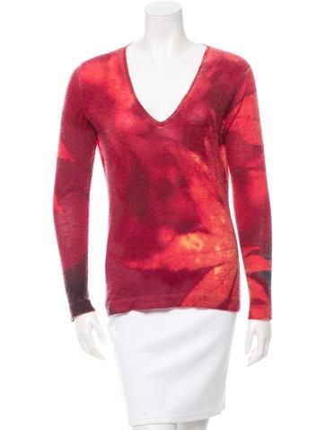 Roberto Cavalli Printed V-Neck Sweater None