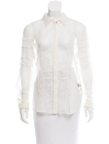 Roberto Cavalli Lace Button-Up Top w/ Tags