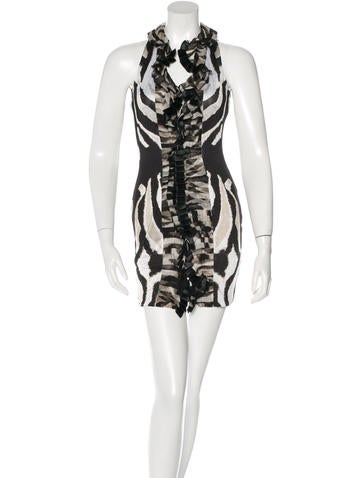 Roberto Cavalli Ruffle-Trimmed Silk Dress None