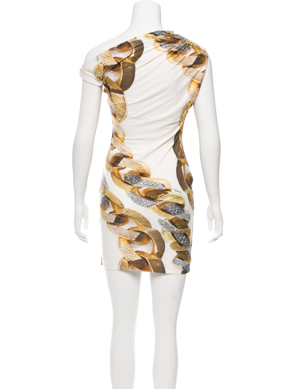 Roberto Cavalli Asymmetrical Chain Link Print Dress