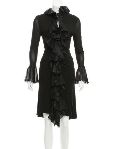 Roberto Cavalli Ruffle-Trimmed Midi Dress None