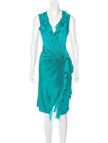 Roberto Cavalli Draped Ruffle-Trimmed Dress None