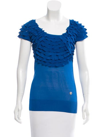 Roberto Cavalli Silk Ruffle-Trimmed Top None