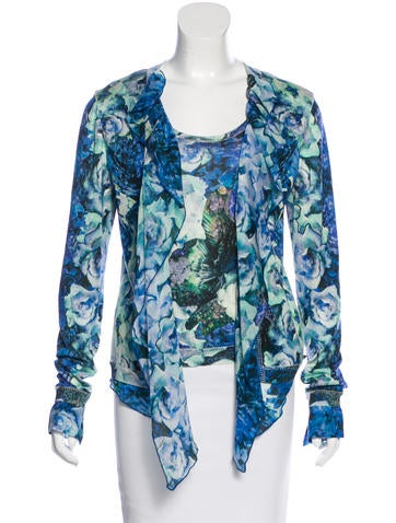 Roberto Cavalli Floral Print Silk Cardigan Set None