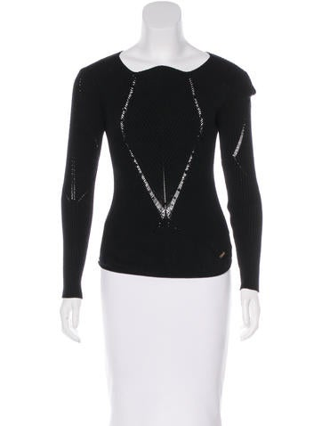 Roberto Cavalli Bead-Embellished Knit Top None