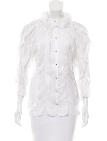 Roberto Cavalli Ruffle-Trimmed Button-Up Top None