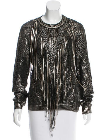 Roberto Cavalli Fringe-Trimmed Coated Sweater w/ Tags None