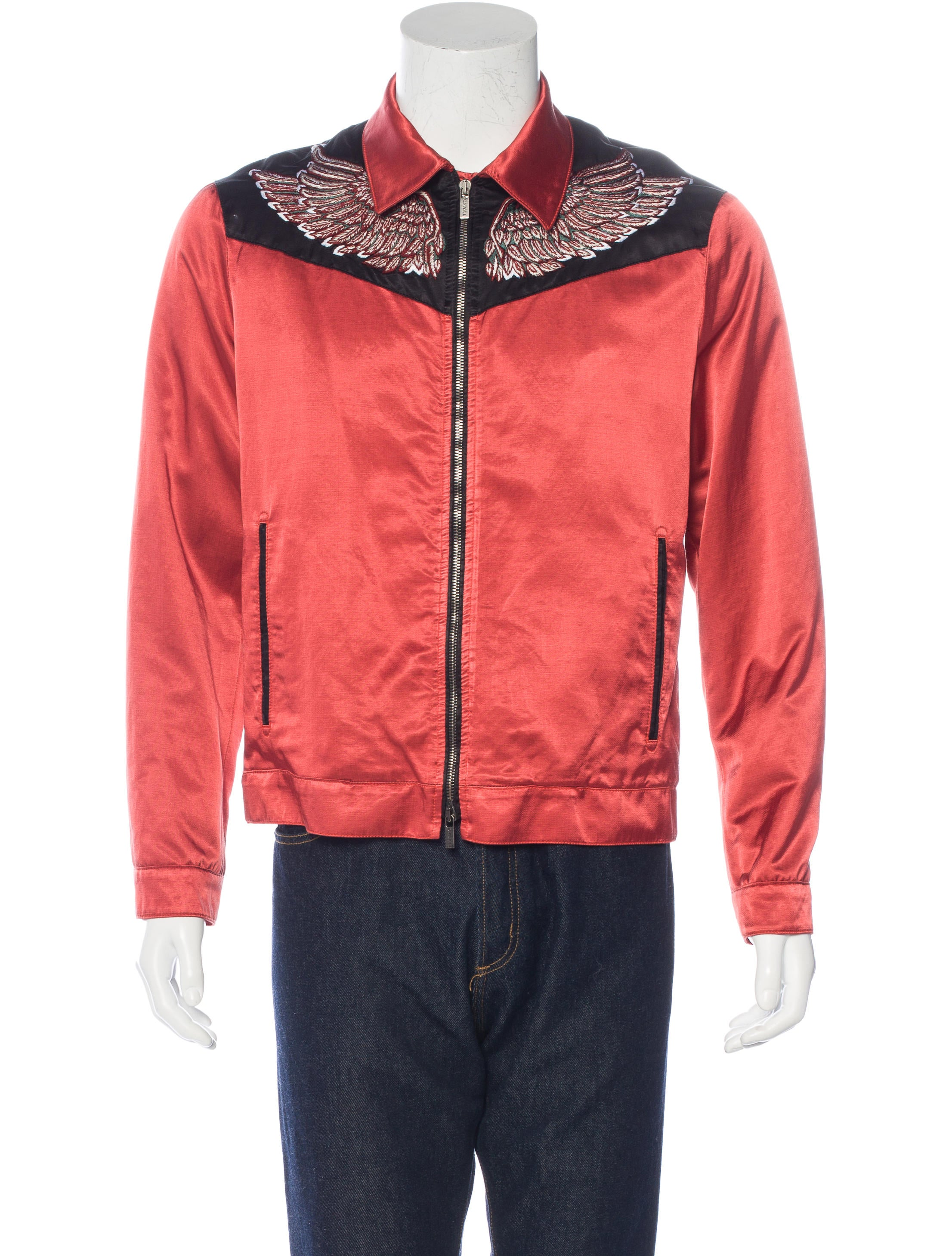 Roberto cavalli satin embroidered jacket clothing