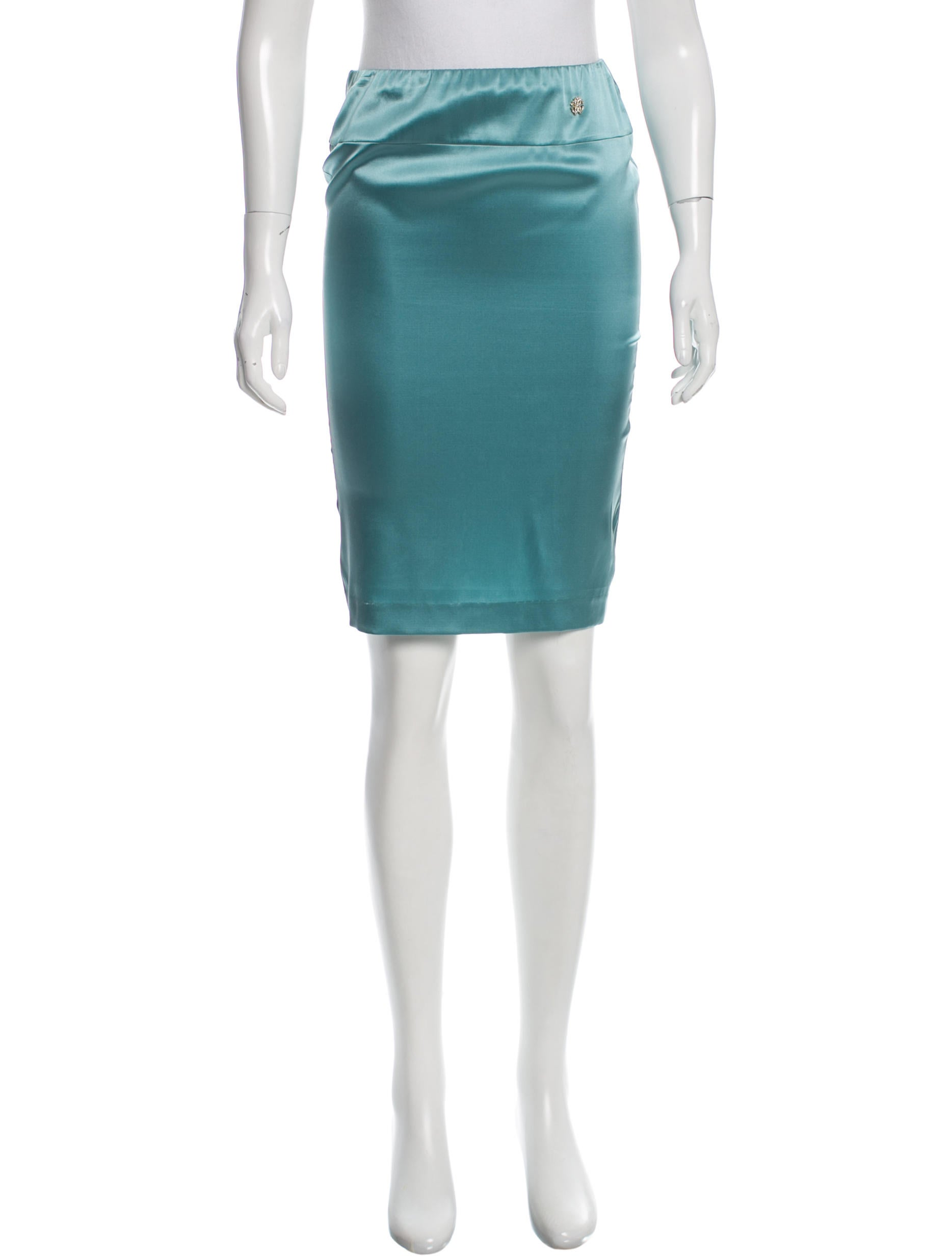 Contemporary Flatware Roberto Cavalli Satin Pencil Skirt Clothing Rob39419