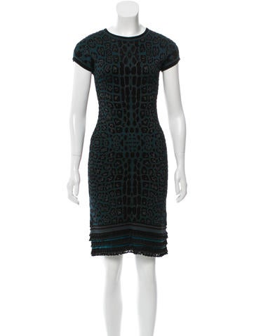 Roberto Cavalli Patterned Knit Dress w/ Tags None