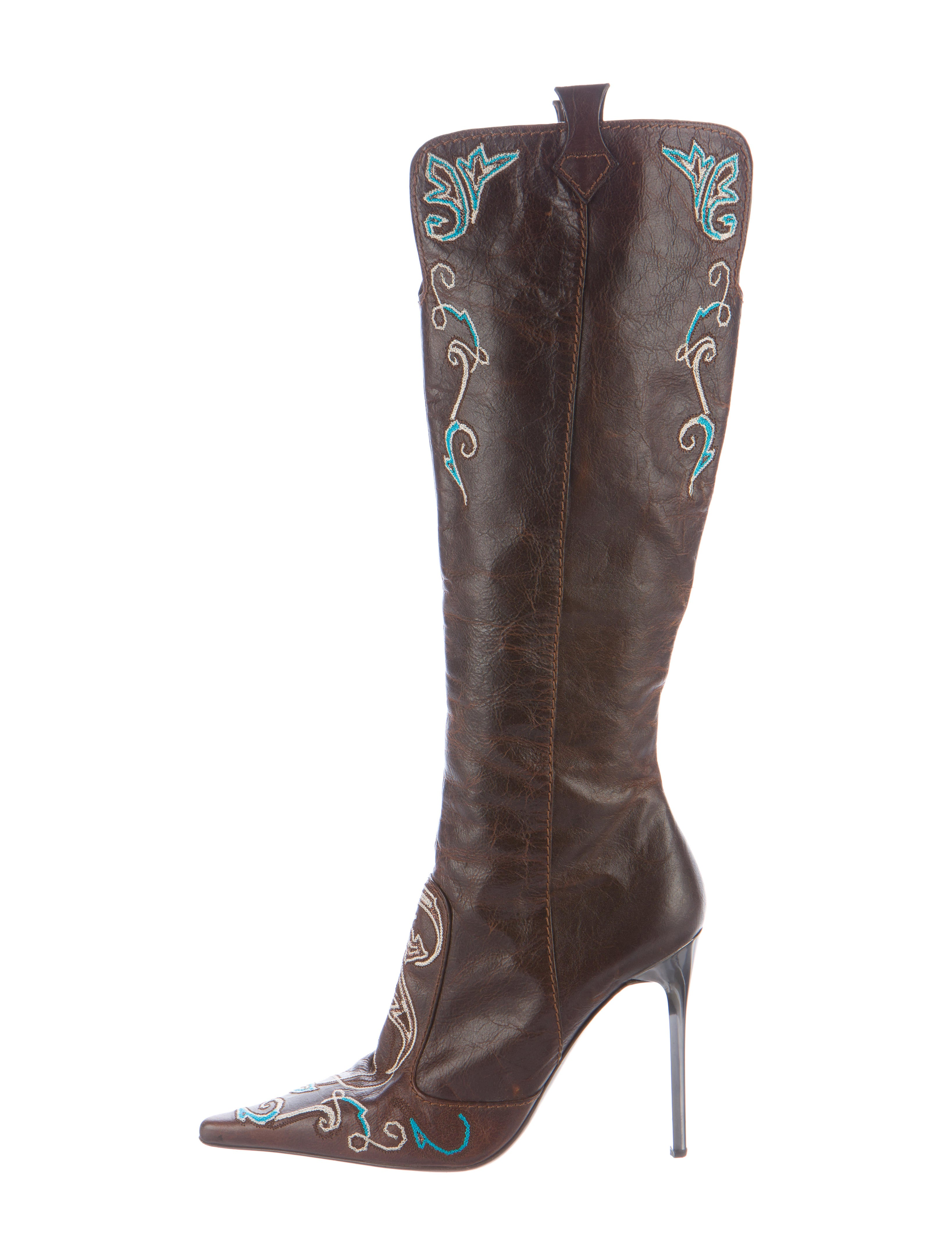 roberto cavalli pointed toe knee high boots shoes