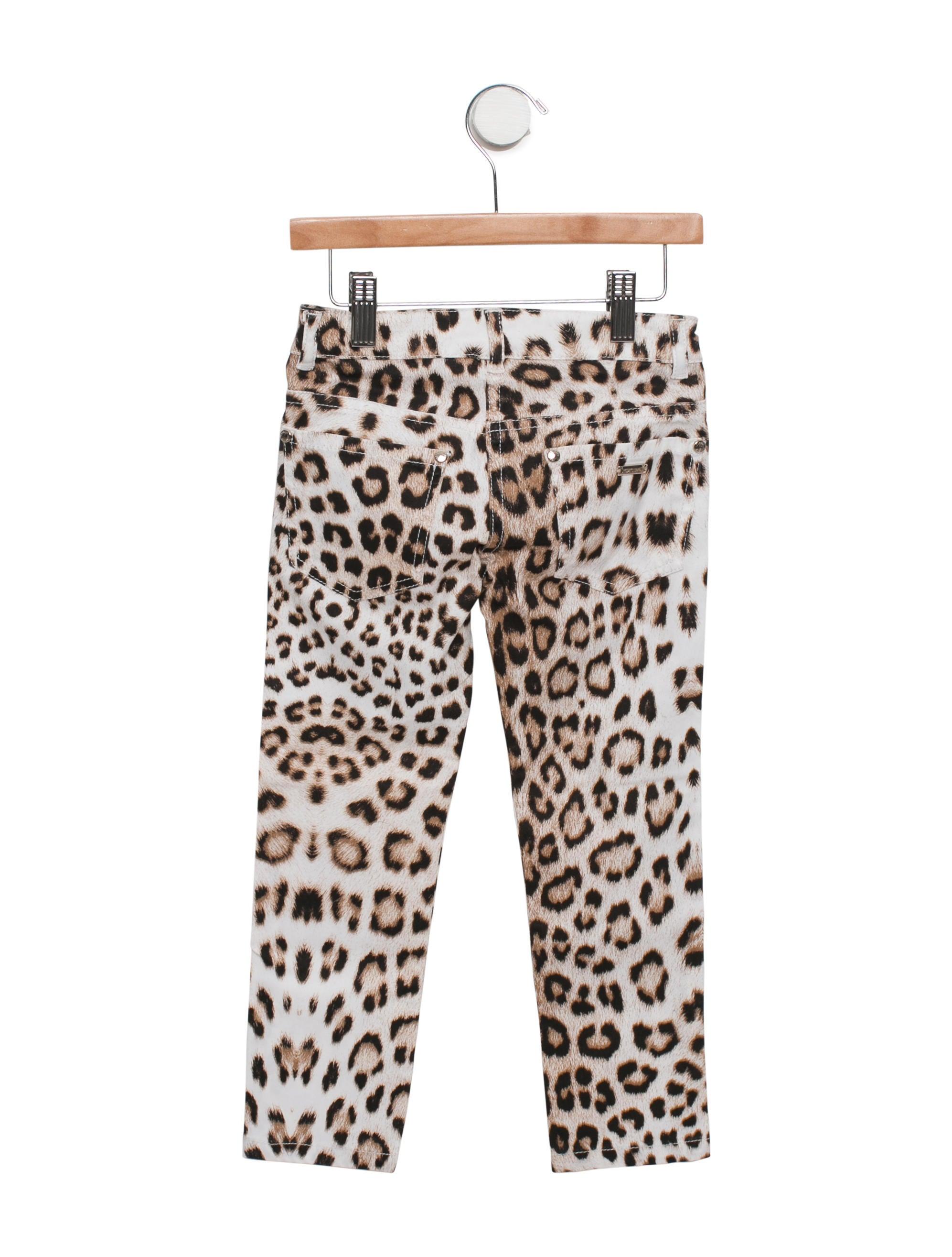 Roberto Cavalli Girls' Leopard Print Straight-Leg Pants w ...