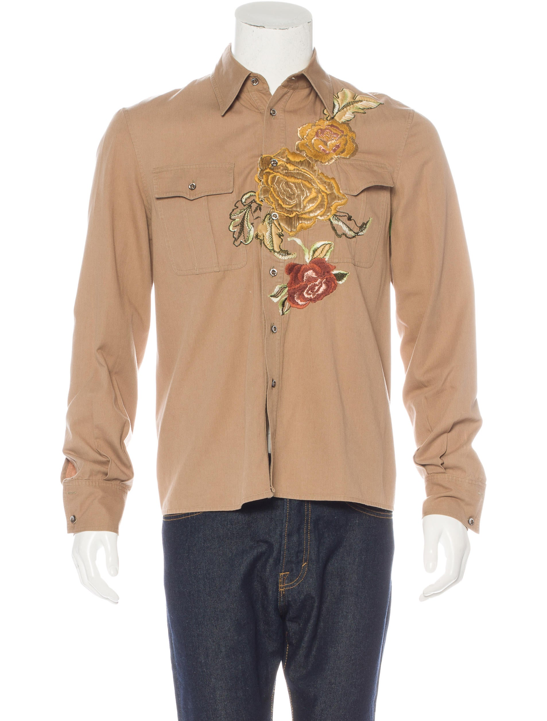Roberto cavalli floral embroidered button up shirt