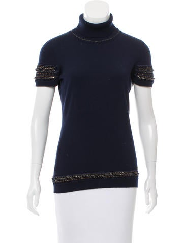 Roberto Cavalli Chain-Link Wool Top None