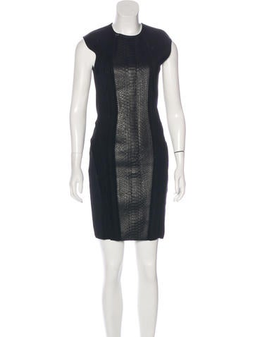 Roberto Cavalli Leather-Paneled Bodycon Dress None