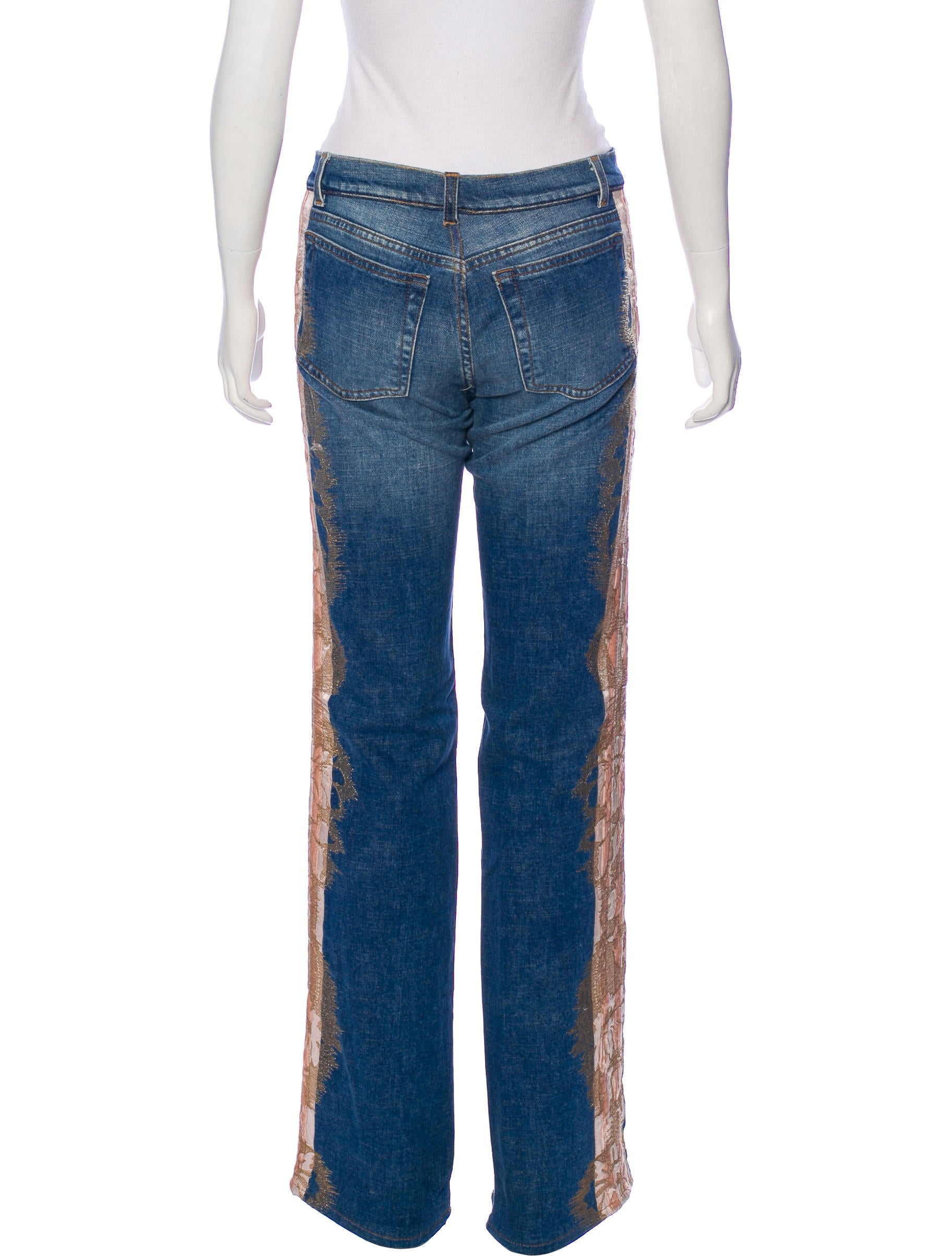 Roberto Cavalli Embroidered WideLeg Jeans  Clothing