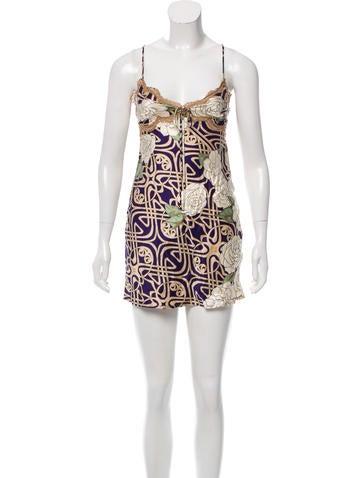 Roberto Cavalli Lace-Trimmed Silk Dress None
