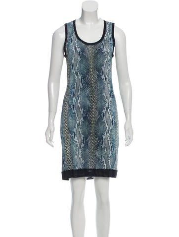 Roberto Cavalli Snakeskin Printed Knit Dress None