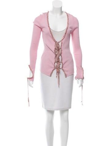 Roberto Cavalli Rib Knit Leather-Trimmed Cardigan None