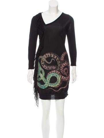 Roberto Cavalli Ruffle-Accented Wool Dress None