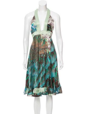 Roberto Cavalli Silk Wrap Dress None