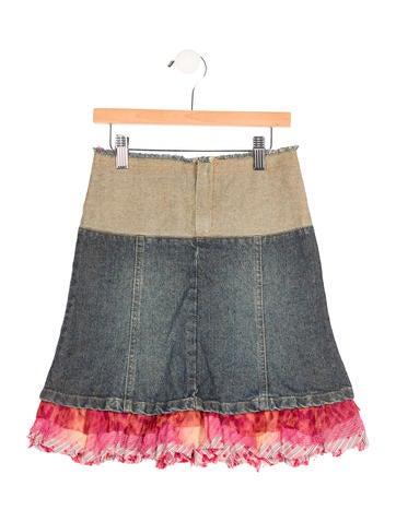 Roberto Cavalli Girls' Ruffle-Trimmed Denim Skirt None