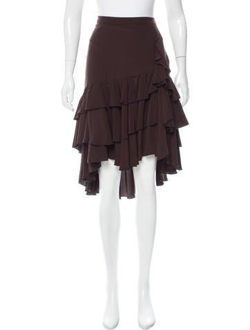 Roberto Cavalli Silk Ruffle-Trimmed Skirt None
