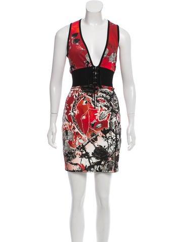 Roberto Cavalli Lace-Up Mini Dress None