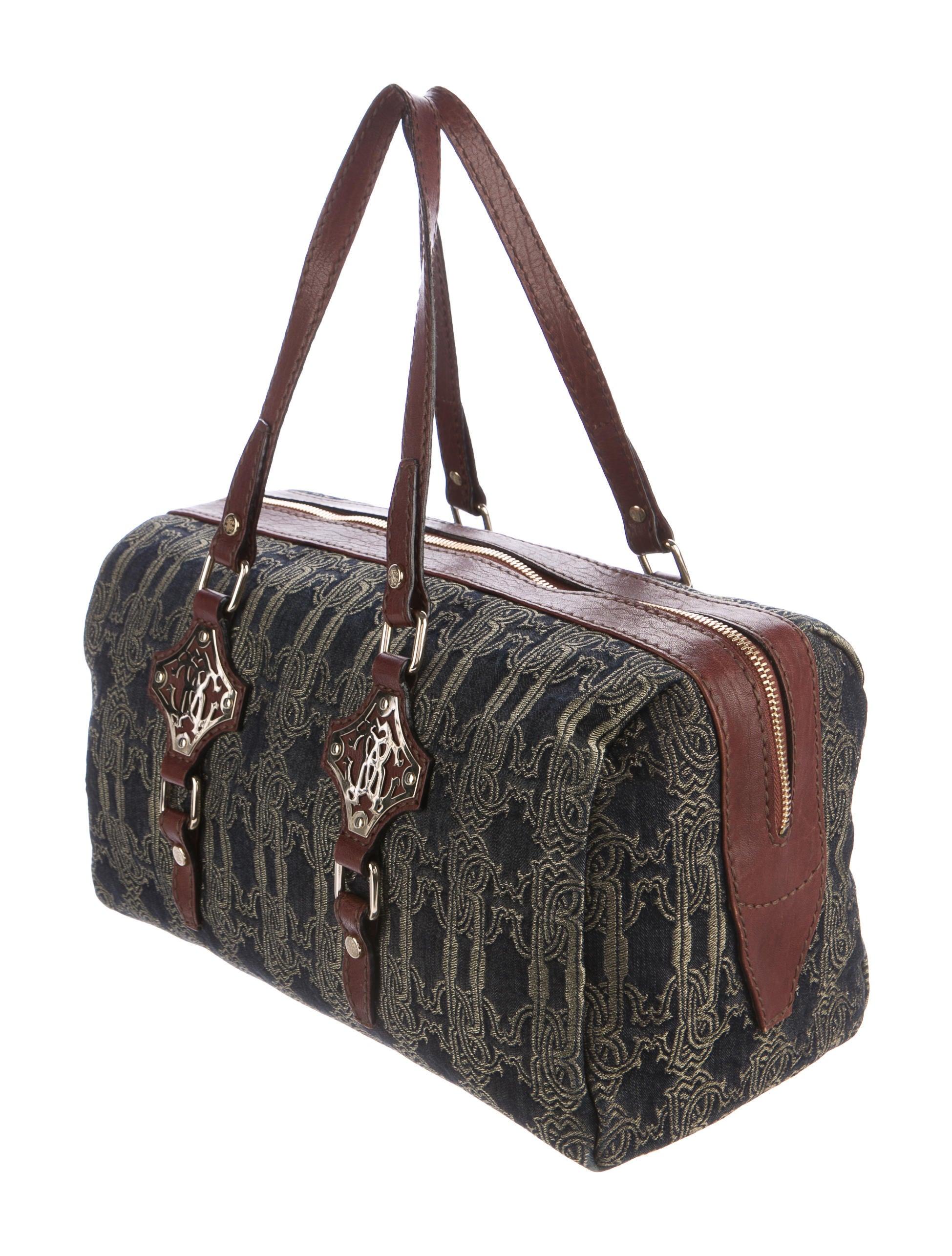 Roberto cavalli embroidered denim shoulder bag handbags