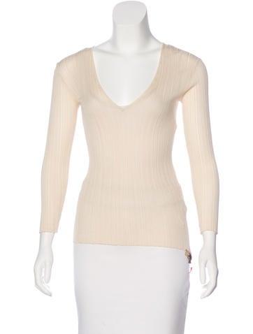 Roberto Cavalli Rib Knit Silk T-Shirt None