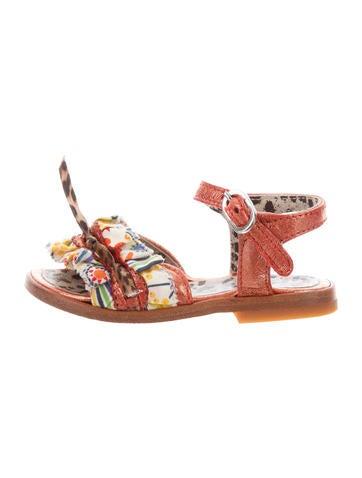 Roberto Cavalli Girls' Ruffle-Trimmed Metallic Sandals None