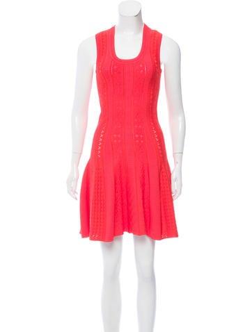 Roberto Cavalli Fit & Flare Open Knit Dress None