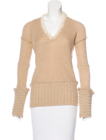 Roberto Cavalli Mink-Trimmed Camel Hair Sweater None