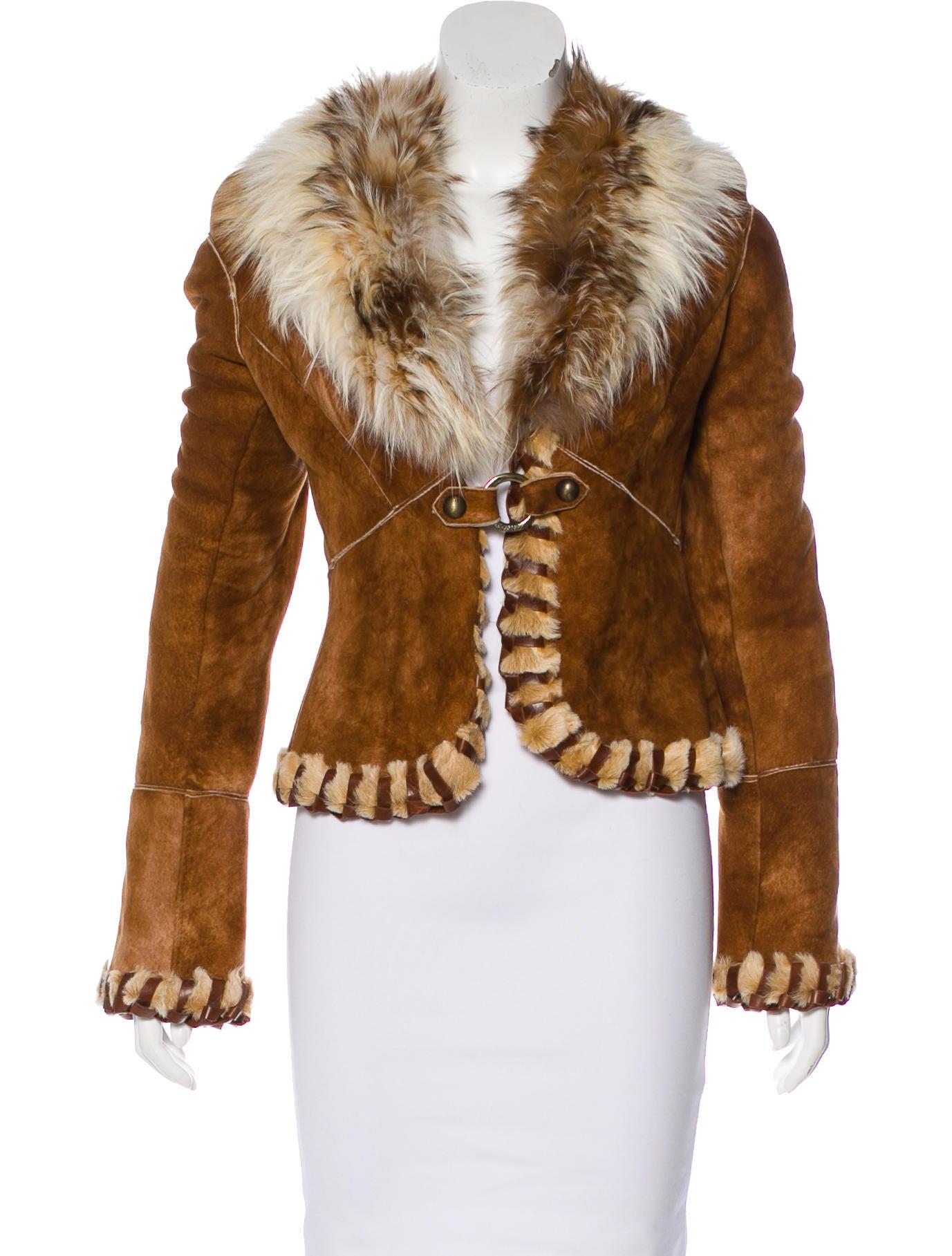 Roberto Cavalli Fur Trimmed Shearling Jacket Clothing