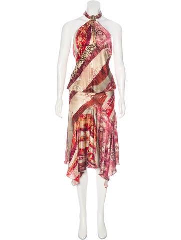 Roberto Cavalli Patterned Silk Skirt Set None