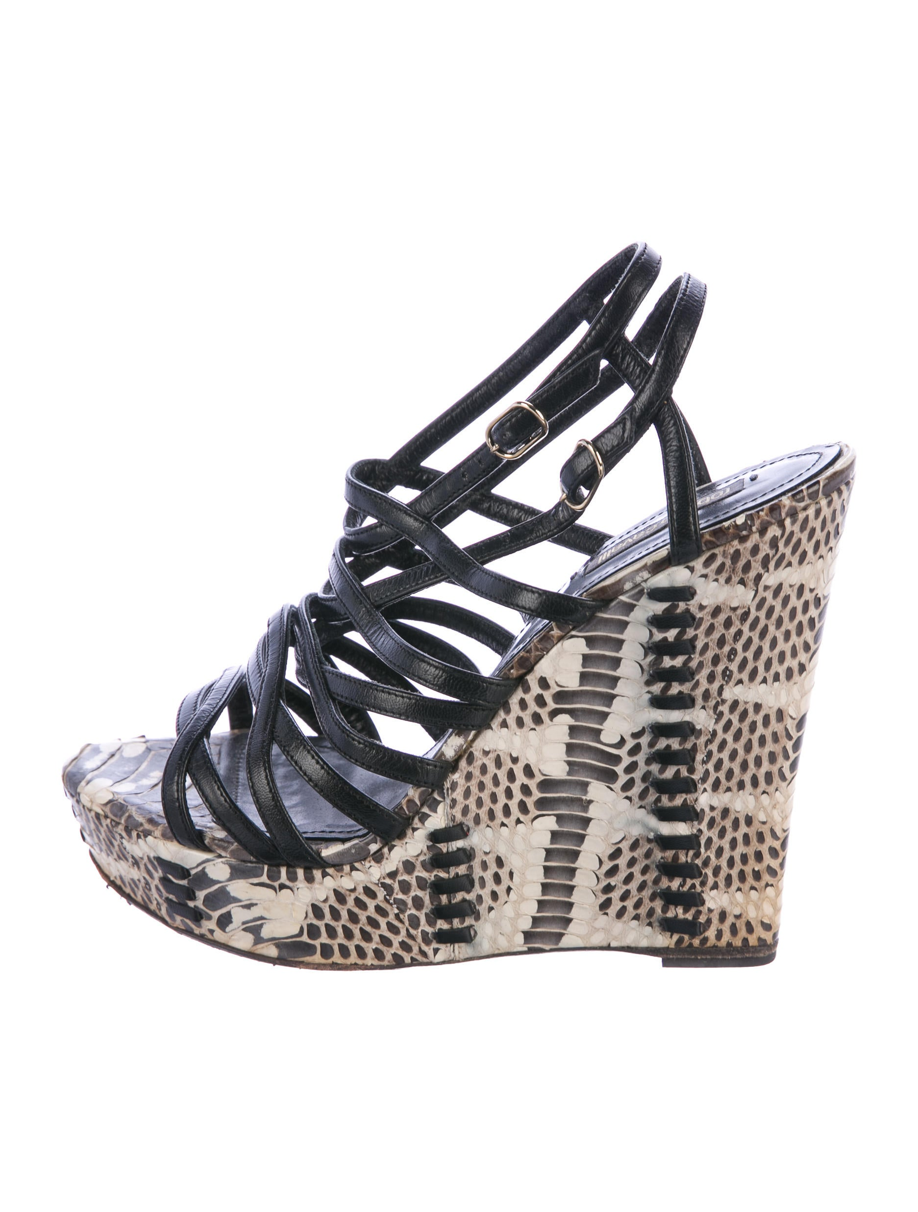 Roberto Cavalli Snakeskin Wedge Sandals cheap manchester great sale tpqZVYPV