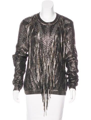 Roberto Cavalli Fringe-Accented Metallic Sweater None
