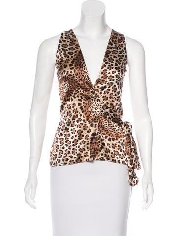 Roberto Cavalli Sleeveless Leopard Print Top None