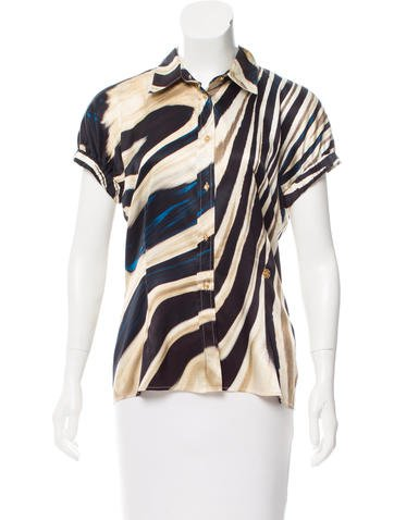 Roberto Cavalli Silk Short Sleeve Top None