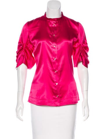 Roberto Cavalli Silk-Blend Button-Up Top None