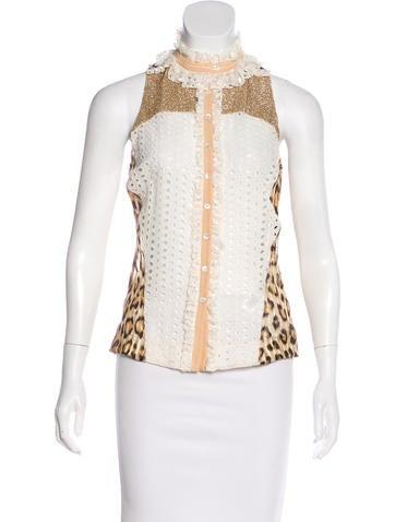 Roberto Cavalli Embellished Silk Top None