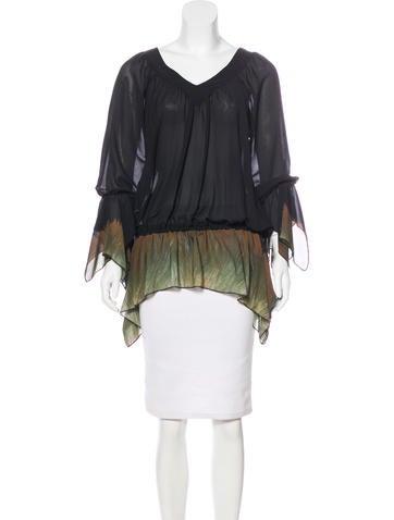 Roberto Cavalli Silk Long Sleeve Top None