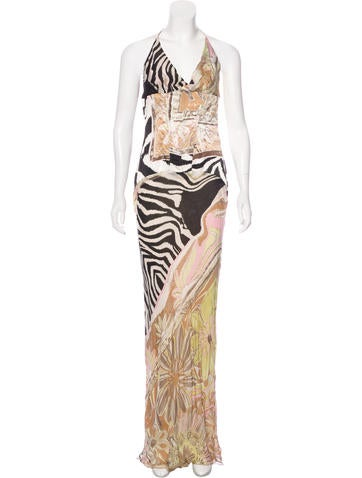 Roberto Cavalli Silk Halterneck Dress None