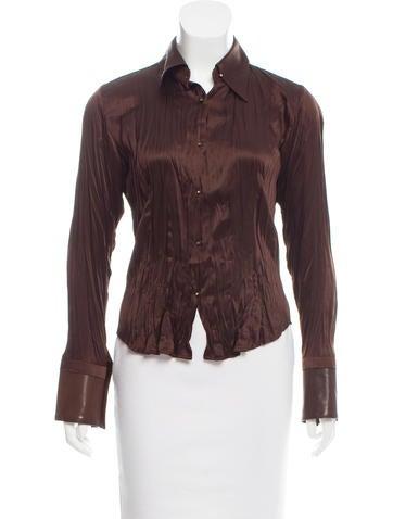 Roberto Cavalli Leather-Trimmed Silk Top None
