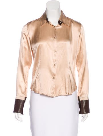 Roberto Cavalli Silk Leather-Trimmed Top None