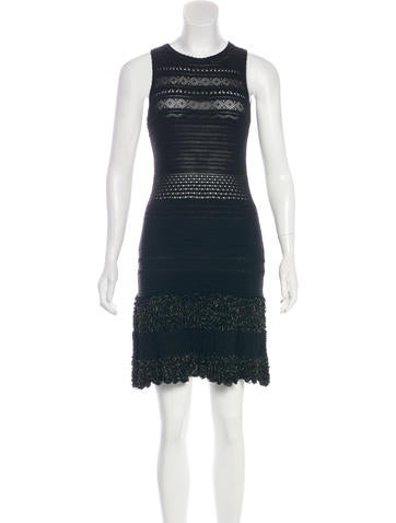 Roberto Cavalli Metallic-Trimmed Knit Dress None