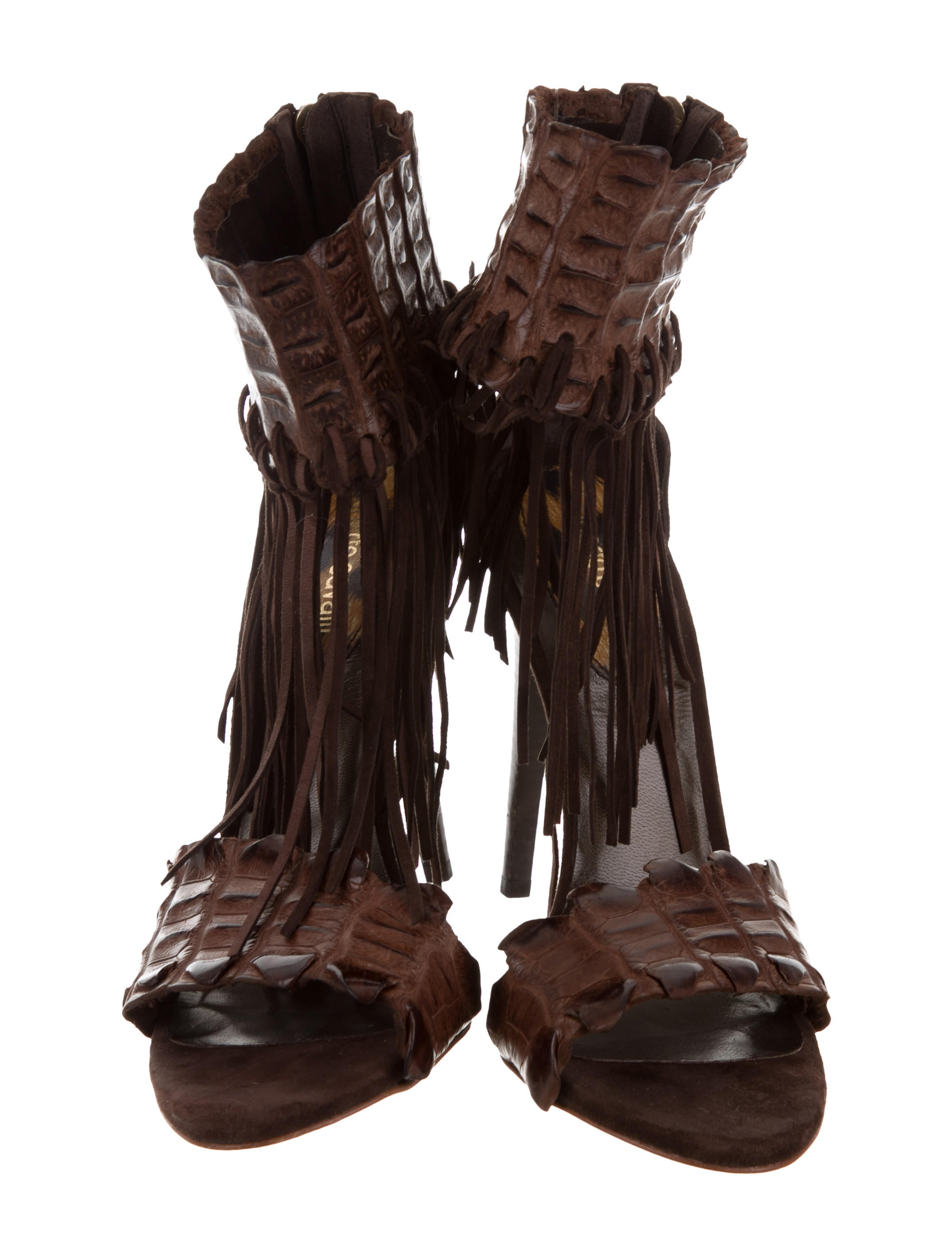 Roberto Cavalli Alligator Fringe Sandals clearance new arrival brand new unisex cheap online discount high quality outlet wiki qC1WRB7h