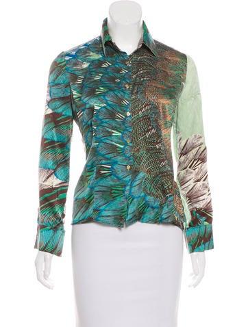 Roberto Cavalli Printed Silk Top None