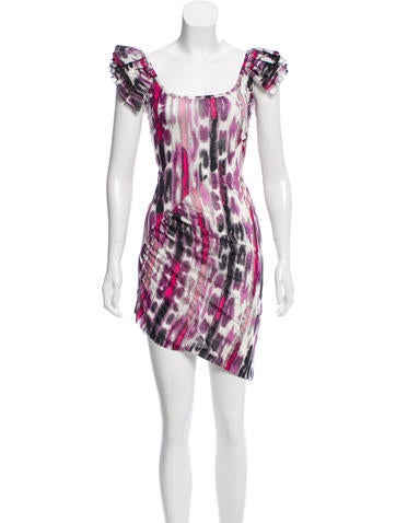 Roberto Cavalli Ruffle-Trimmed Printed Dress None